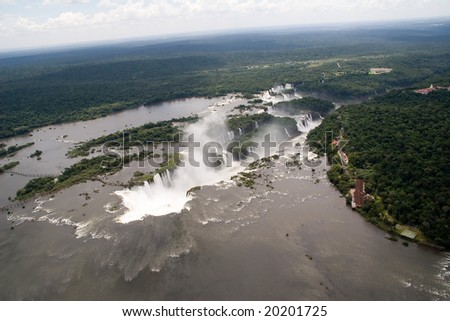 Aerial view toward Iguazu Falls' Devil's Throat Waterfall