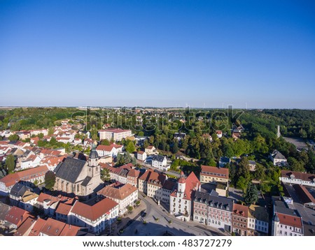aerial view town schmoelln thuringia germany architecture