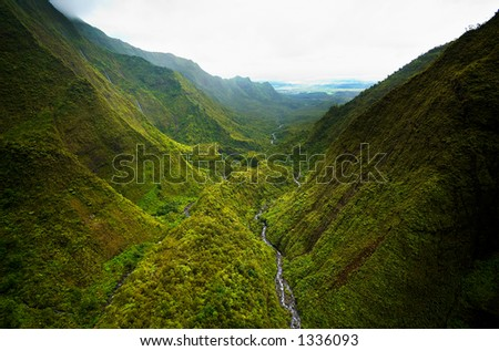 Aerial view valley on Kauai Hawaii. More with keyword Series001A. - stock photo