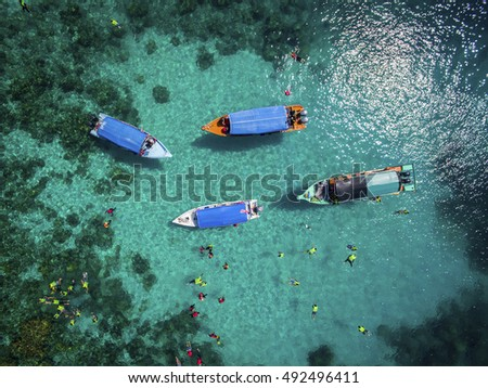 aerial view water confident activity in crystal clear water
