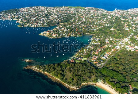 Aerial view Watsons Bay. View on Sydney harbourside suburb from above. Aerial view on Sydney harbourside - stock photo
