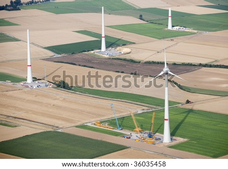 Aerial View : wind turbines construction site - stock photo