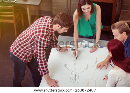 Aerial View Young of Friends Discussing Project Plan Using Concept Map at the Table - stock photo