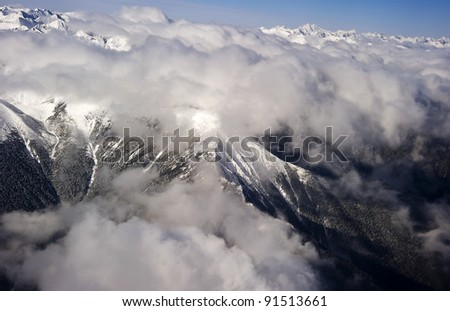 Aerial views in Tibet fly over to mountain Himalaya