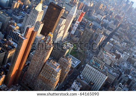 Aerial views of midtown Manhattan - stock photo