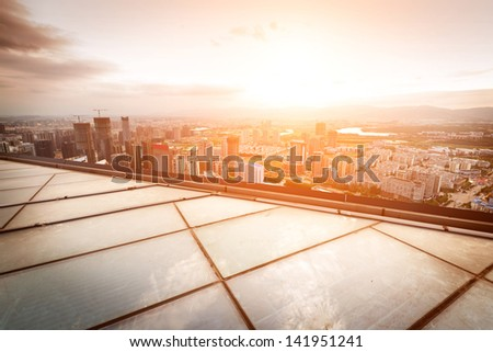 Aerial views of the city - stock photo