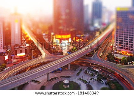 Aerial views of the city with tilt-shift effect - stock photo