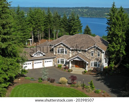 Aerial water view of home - stock photo