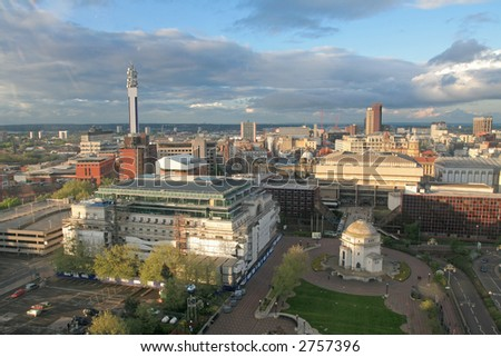 Aerial wiev from Birmingham, England, Europe. - stock photo