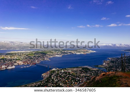 aerialview of tromso a vet beautiful village in norway - stock photo