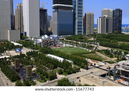 Aeriel view of Millennium Park in Chicago, Illinois - stock photo