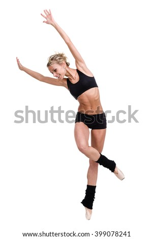 Aerobics fitness woman exercising isolated in full body. - stock photo