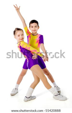 aerobics.sports dance.children athletes on a white background
