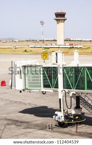 Aerobridge at Tunis airport, Tunisia - stock photo