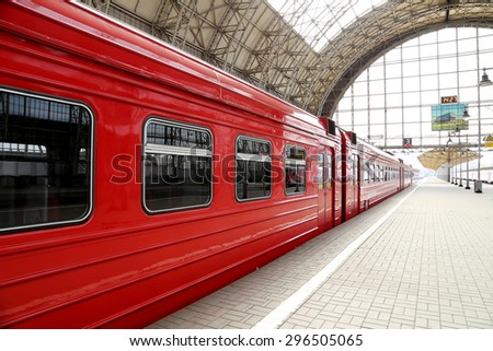 Aeroexpress red Train on Kiyevskaya railway station  (Kiyevsky railway terminal,  Kievskiy vokzal) -- is one of the nine main railway stations of Moscow, Russia   - stock photo