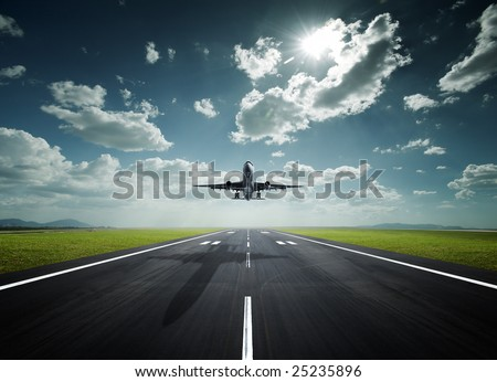 aeroplane at the airport with good weather - stock photo