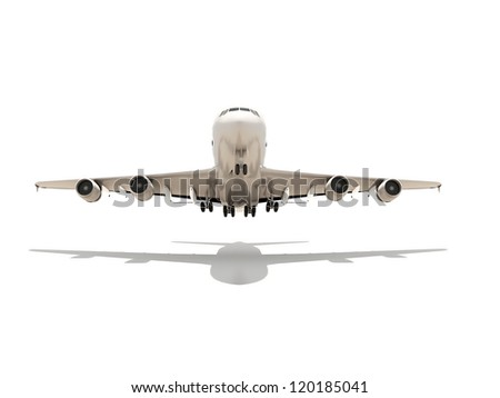 Aeroplane render isolated on white background with shadow - stock photo