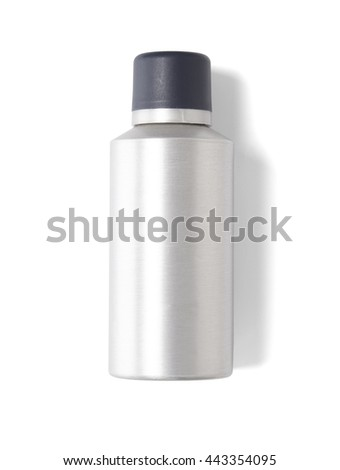 Aerosol can - A plain brushed metal silver spray tin with a black lid, isolated on a white background - stock photo