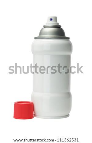 Aerosol Spray Can on White Background - stock photo