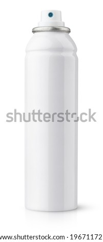 Aerosol spray metal bottle can isolated on white with clipping path - stock photo