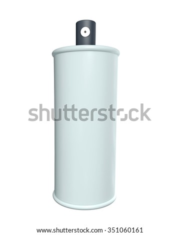 Aerosol spray with an open cap isolated on white background. 3d