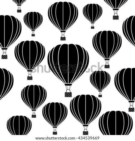 Aerostat balloon. Black and white raster pattern.