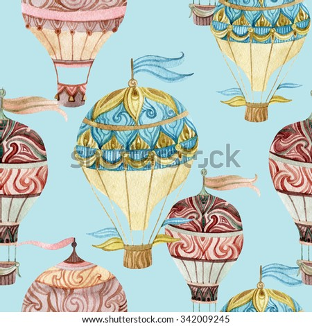 Aerostat vintage seamless pattern. Watercolor hot air balloons. Hand painted illustrations on blue background - stock photo