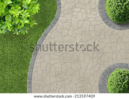 aesthetic garden design detail in aerial view - stock photo