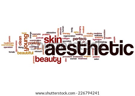 Aesthetic word cloud concept - stock photo