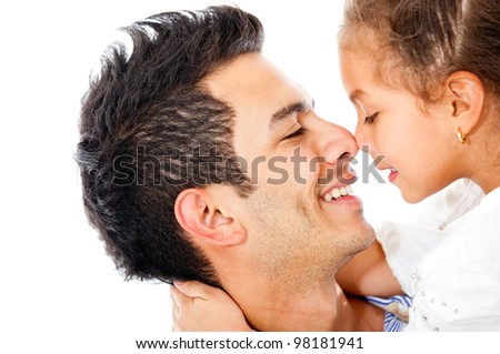 Affectionate girl with her father - isolated over a white background - stock photo