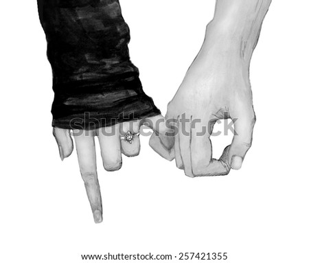 Affectionate relationship. Watercolor freehand drawing. Raster monochrome version - stock photo