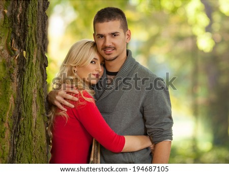 Affectionate young couple in a park