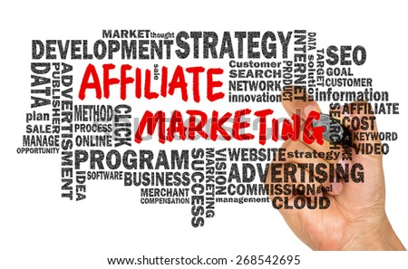 affiliate marketing concept handwritten on whiteboard with related words cloud
