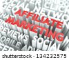 Affiliate Marketing Concept. The Word of Red Color Located over Text of White Color. - stock vector