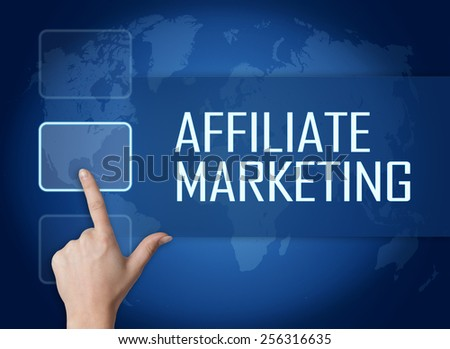 Affiliate Marketing concept with interface and world map on blue background - stock photo