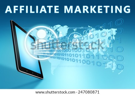 Affiliate Marketing illustration with tablet computer on blue background - stock photo