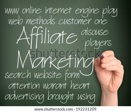 Affiliate Marketing word cloud handwritten on blackboard  - stock photo