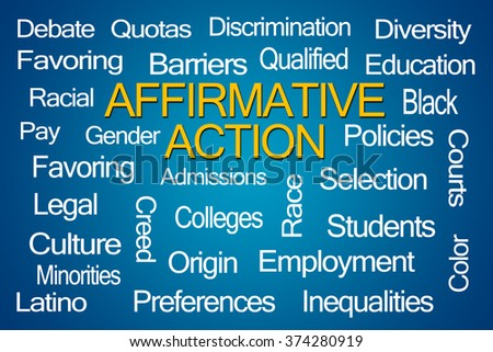 Affirmative Action Word Cloud on Blue Background - stock photo