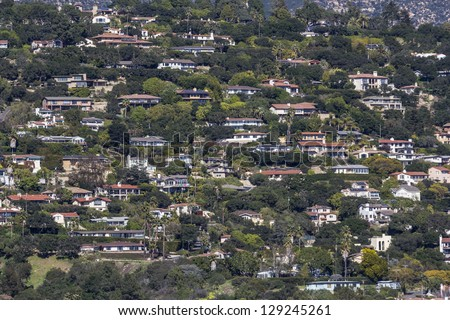 Affluent ocean view hillside homes in Santa Barbara, California. - stock photo