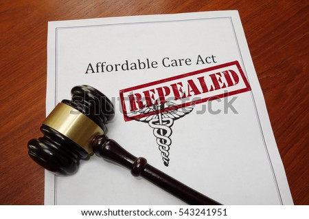 Affordable Care Act aka ObamaCare policy with Repealed stamp and gavel