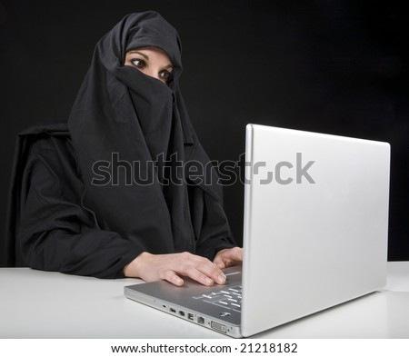 Afghan woman with computer