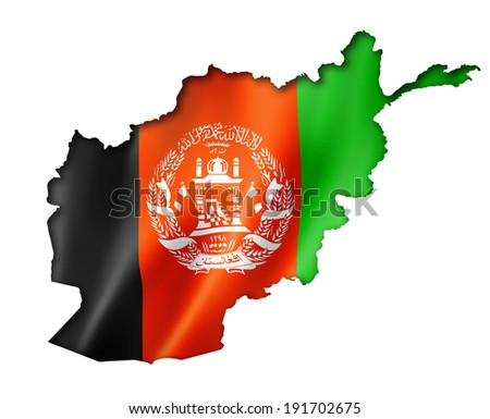 Afghanistan flag map, three dimensional render, isolated on white - stock photo
