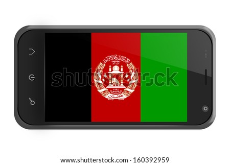 Afghanistan flag on smartphone screen isolated on white - stock photo