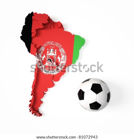 Afghanistan flag on South American map - stock photo