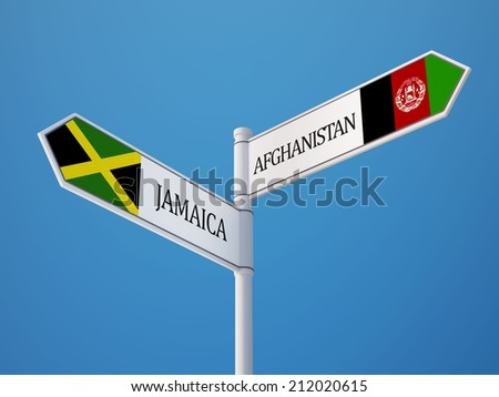 Afghanistan  Jamaica High Resolution Sign Flags Concept