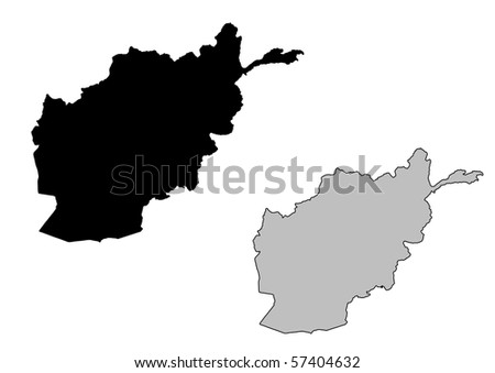 Afghanistan map. Black and white. Mercator projection. - stock photo
