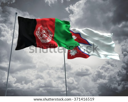 Afghanistan & Nepal Flags are waving in the sky with dark clouds - stock photo