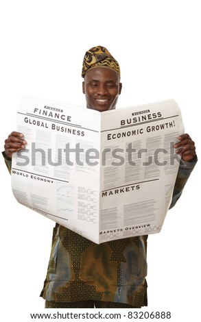 Afican wearing national clothes with business newspaper isolated over white - stock photo