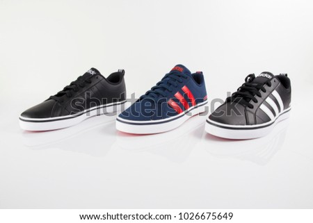 Afife, Portugal - February 15, 2018: Adidas Running boots. Adidas,  multinational
