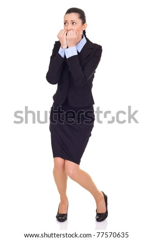 afraid businesswoman, biting her nails, isolated on white - stock photo
